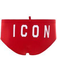 DSquared² Icon Logo Print Swimming Briefs - Red