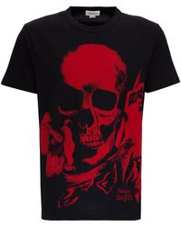 Alexander McQueen Cotton T-shirt With Skull Print - Multicolor