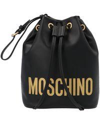 Moschino Logo Print Bucket Shoulder Bag - Black