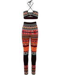 Etro Top E LEGGINGS In Lana Jacquard Multicolore - Red
