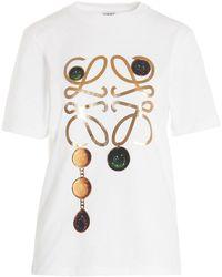 Loewe Anagram Brooch Print T-shirt - White