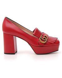 Gucci GG Fringe Leather Platform Pump - Red