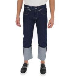 Junya Watanabe X Levi's Contrast Paneled Cropped Jeans - Blue