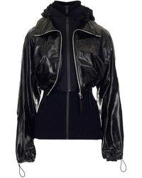 Bottega Veneta Knit-detailed Cropped Leather Jacket - Black