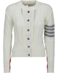 Thom Browne 4-bar Stripe Cable-knit Cardigan - White