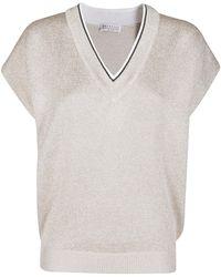 Brunello Cucinelli Short Sleeve V-neck Knit Top - Natural