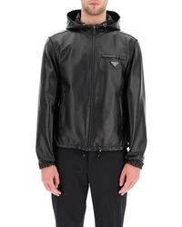 Prada Reversible Blouson In Leather And Re-nylon - Black