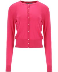 Dolce & Gabbana Silk Cardigan With Buttons - Pink