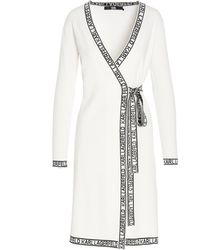 Karl Lagerfeld Logo Tape Tie-waist Dress - White