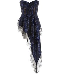 Self-Portrait Sequined Top With Lace - Blue