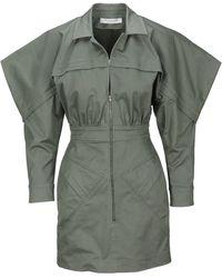 Philosophy Di Lorenzo Serafini Exaggerated Shoulder Shirt Dress - Green