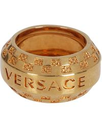 Versace Tribute Logo Engraved Ring - Metallic