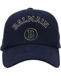 Balmain Logo Patch Baseball Cap - Blue