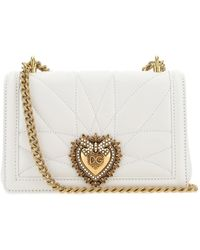 Dolce & Gabbana Large Devotion Bag In Quilted Nappa Leather - White