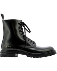 Common Projects Lug Sole Combat Boots - Black