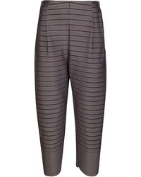 Issey Miyake Striped Tapered Trousers - Grey