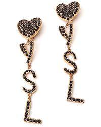 Saint Laurent Ysl Crystal-embellished Clip Earrings - Metallic