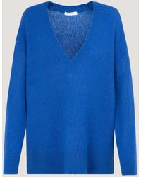 The Row V-neck Knitted Jumper - Blue