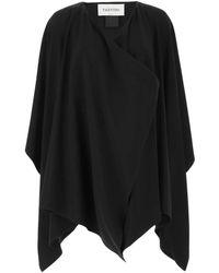 Valentino Layered Draped Cape - Black