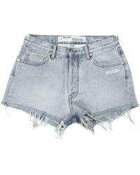 Off-White c/o Virgil Abloh Frayed Denim Shorts - Blue