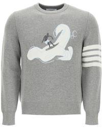 Thom Browne Surfer Crew Neck Sweater 1 Cotton - Grey