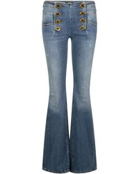 Balmain Buttoned Flared Jeans - Blue