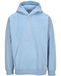 Nike Lab Logo Embroidered Hoodie - Blue
