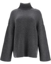 Nanushka Raw Chunky Knit Turtleneck Jumper - Grey