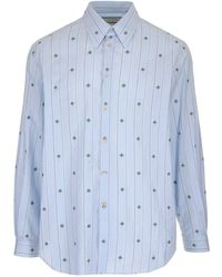 Gucci Bee-embroidered Tailored-fit Cotton Shirt - Blue