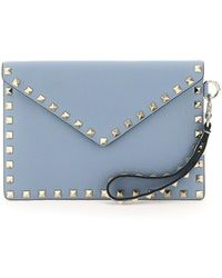 Valentino Garavani Rockstud Envelope Clutch Bag - Blue