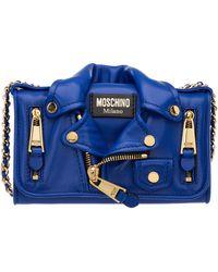 Moschino Biker Micro Crossbody Bag - Blue