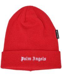Palm Angels Men's Beanie Hat Logo - Red