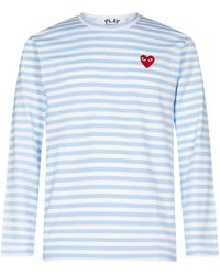 COMME DES GARÇONS PLAY Striped Long-sleeve T-shirt - Blue
