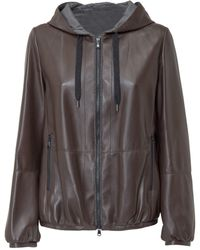 Brunello Cucinelli Zipped Hooded Leather Jacket - Brown