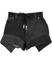 JW Anderson Flared Hem Denim Shorts - Black
