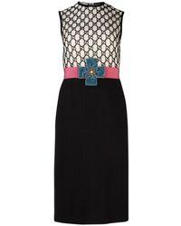 Gucci Appliquéd Macramé Dress - Black