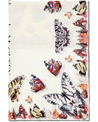 Alexander McQueen Butterfly Decay Scarf - White