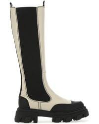 Ganni Knee-high Chelsea Boots - Black