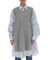 Maison Margiela Spliced Knit Shirt - Grey