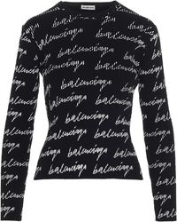 Balenciaga All Over Signature Logo Sweater - Black