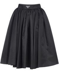 Prada Re-nylon Gabardine Wide Midi Skirt - Black