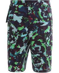 KENZO Abstract Printed Cargo Shorts - Green