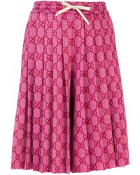 Gucci All Over Logo Pleated Shorts - Pink