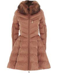 Elisabetta Franchi Faux Fur Circle Quilted Coat - Orange