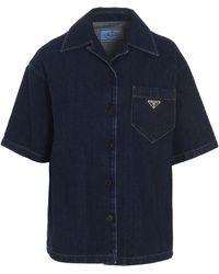 Prada Denim Short-sleeve Overshirt - Blue