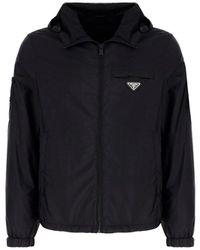 Prada - Logo Plaque Hooded Jacket - Lyst