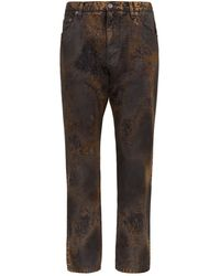 Dolce & Gabbana Rust Colour Jeans With Acid Wash Effect - Brown