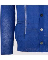Junya Watanabe Contrast-stitch V-neck Cardigan - Blue