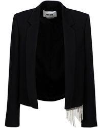MSGM Swarovski Fringed Crop Jacket - Black