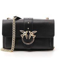 Pinko Leather Love Simply Shoulder Bag - Black